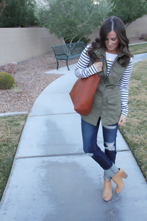 bb59ef671a16 Army Green Utility Vest, Navy Striped Tee, Distressed Skinny Jeans, Tan  Mules, Cognac Tote, Banana Republic, H&M, AG Jeans, Dolce Vita, Madewell 11