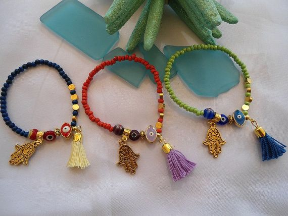 HAMSA and EVIL Eye Amulet -Protection Bracelets-Ethnic Jewelry- Turkish Bracelets