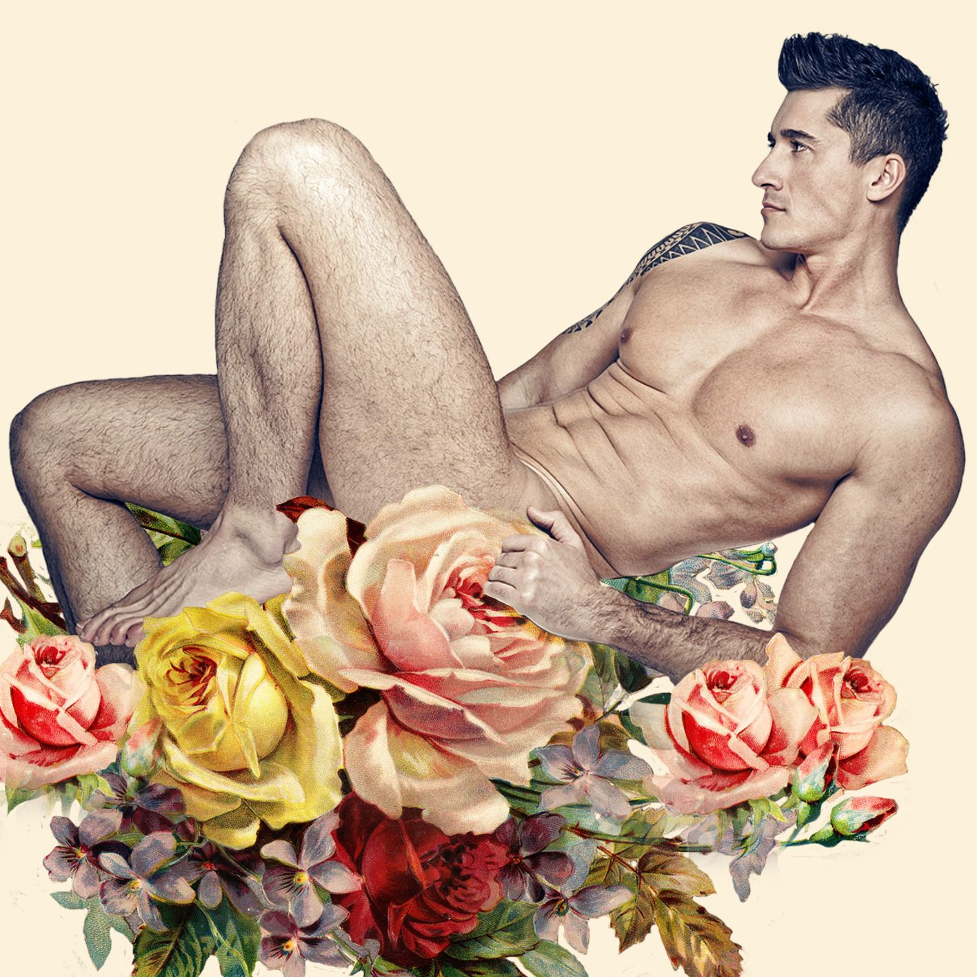 Flores vintage + corpo masculino