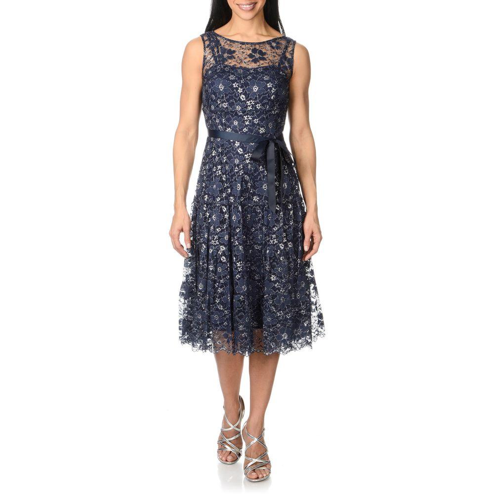 S.L. Fashions Womens Metallic Lace Dress