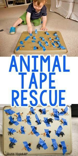 Tape Rescue ActivityAnimal Tape Rescue Activity Awesome toddler and preschooler activity thats great for improving fine motor skills counting and color recognition Check...