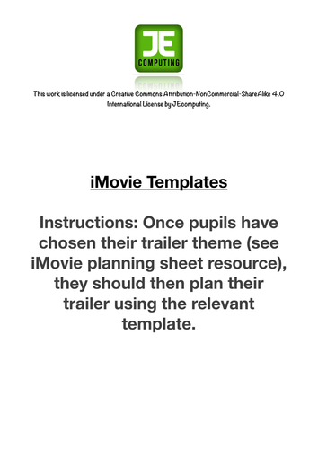 Templates for all the iMovie app trailer themes. Enables pupils to ...