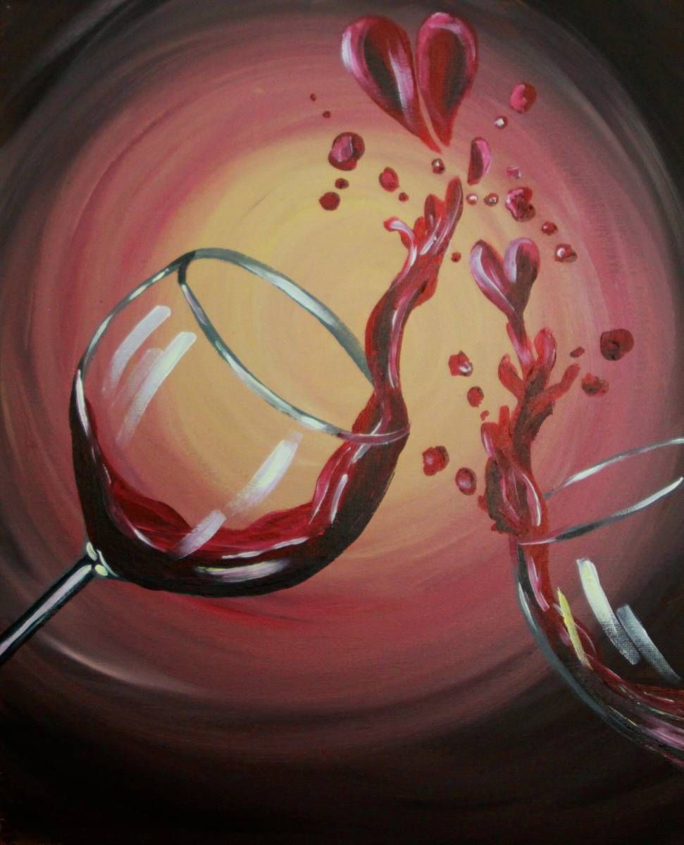 I Heart Wine Canvas Painting Projects Wine Painting Wine Art
