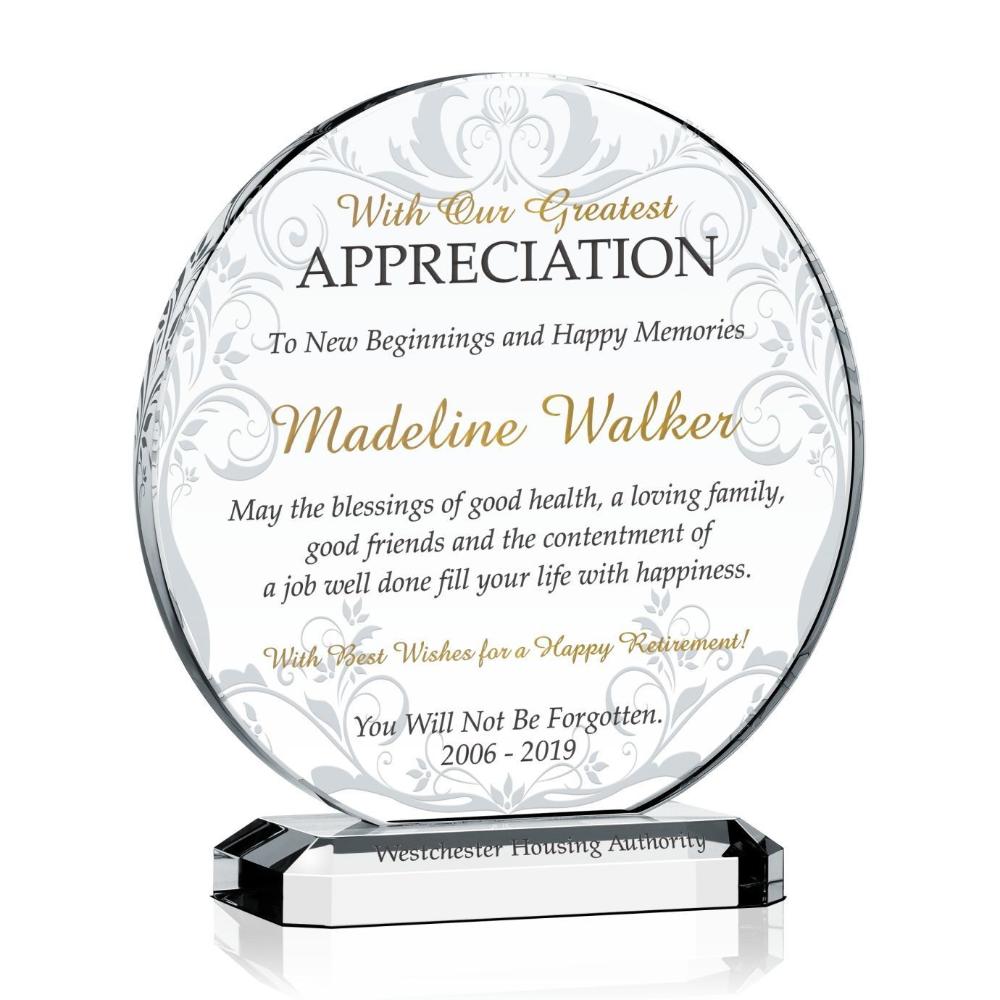 Custom Circular Crystal Appreciation Award Retirement Plaques Appreciation Glass Plaques