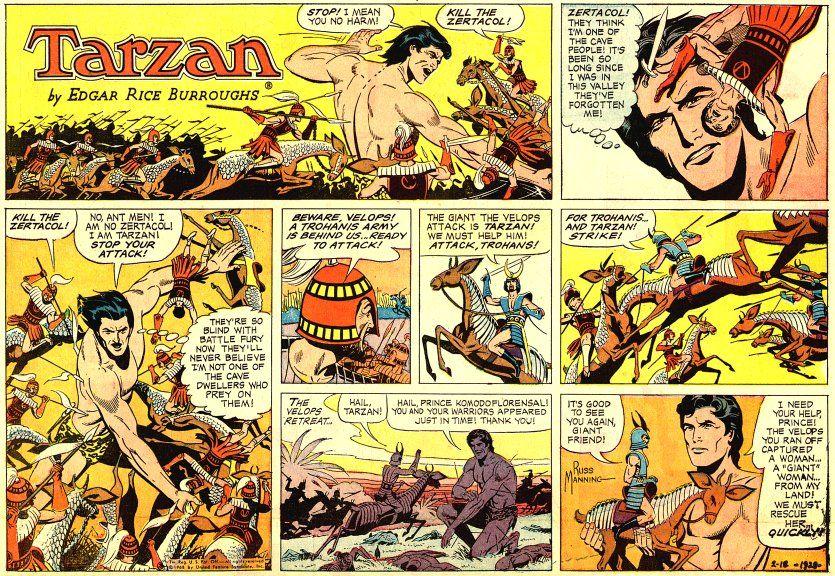 russ manning tarzan comic strip | Click opening panels to see each week's  page | Tarzan, Classic comics, Comic strips