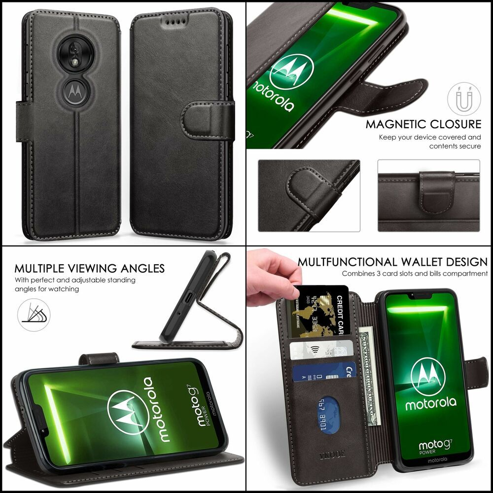 Motorola Moto G7 Power Leather Wallet Flip Cover Card Slots Protective Magnetic Ykooe Leather Wallet Card Slots Motorola