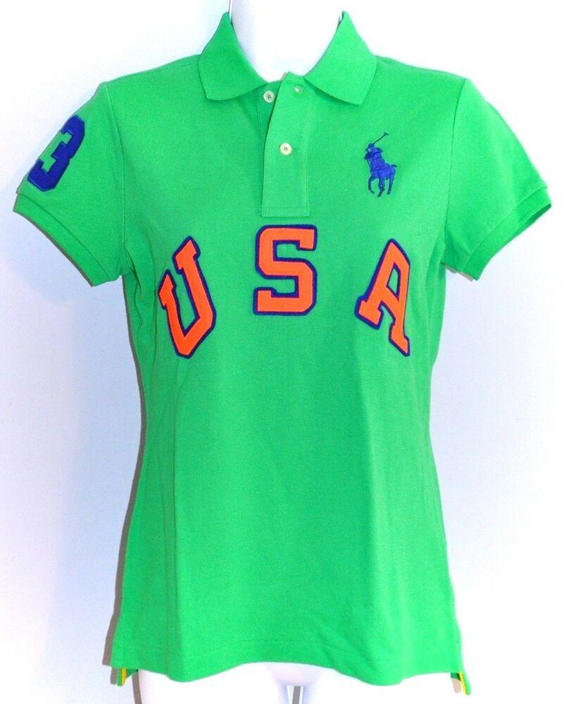 765b1ae5e RALPH LAUREN Womens Polo Top USA Pony Green Cotton  3 size SMALL NWT   125.00