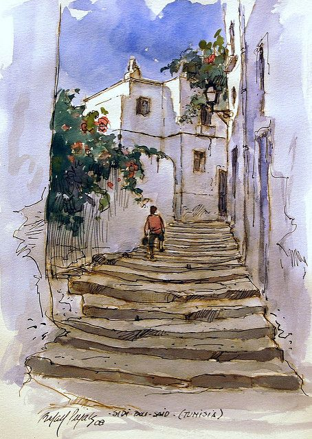Sidi Bou Said Watercolor Architecture Watercolor Painting