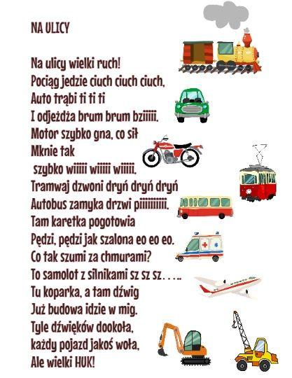 Wierszyk O Pojazdach Logopatka Wychowywanie Dzieci