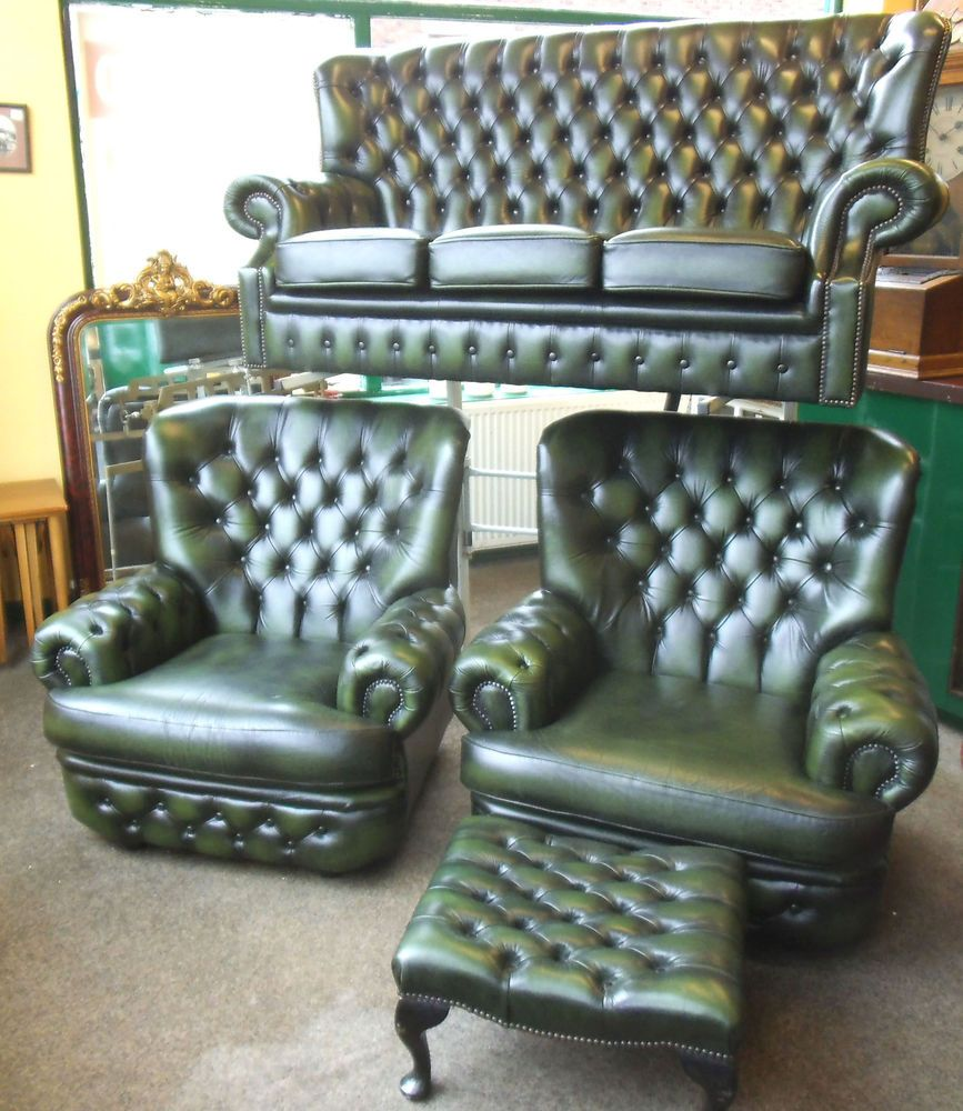 ANTIQUE GREEN LEATHER CHESTERFIELD FOUR PIECE SUITE BY