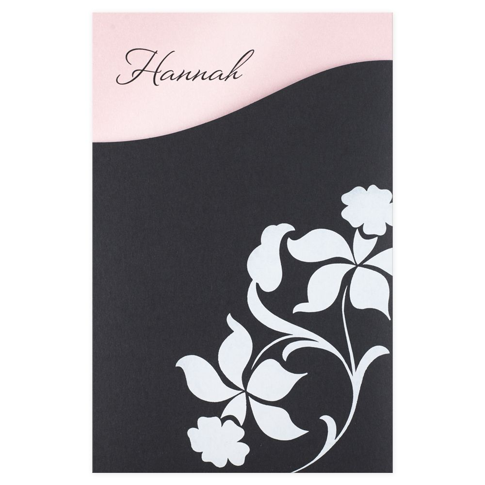 Aplomb: The perfect combination of soft and sophisticated, this pocketed Bat Mitzvah invitation lets guests know they are in for a special treat. The invitation is printed on heavy ballet-pink paper, your name at the top so that when the card slides into the floral-patterned black sleeve, only the name shows. On the back of the sleeve, a curved pocket holds your pink RSVP card, white reception card, and white envelope. Bar mitzvah and bat mitzvah party invitation, Bar bat mitzvah invitation.