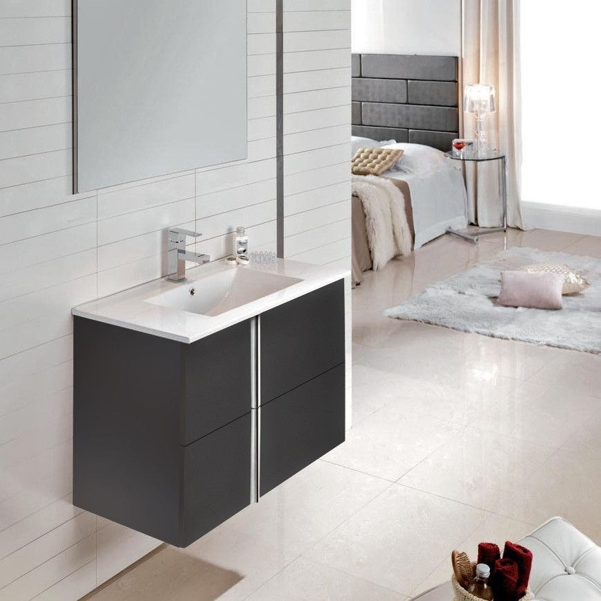Royo Onix Vanity Wall Hung Cabinet And Sink 32 Anthracite