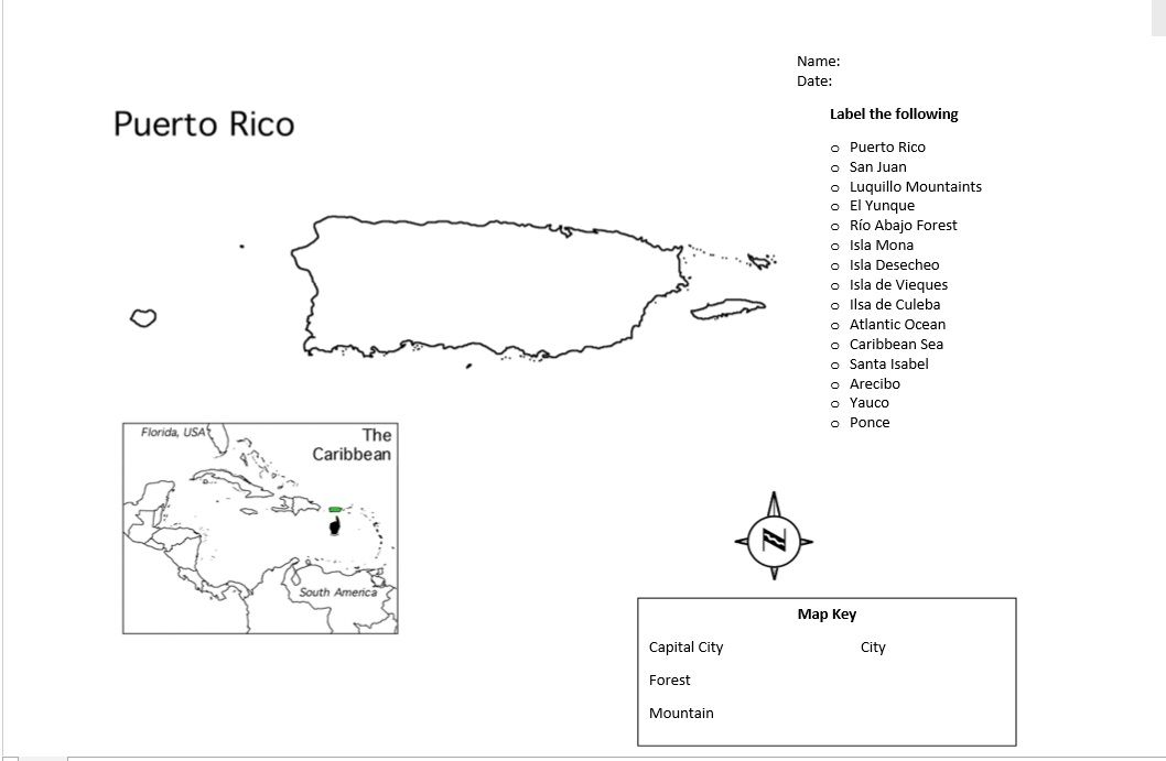 Outline map of Puerto Rico that will help students learn ...