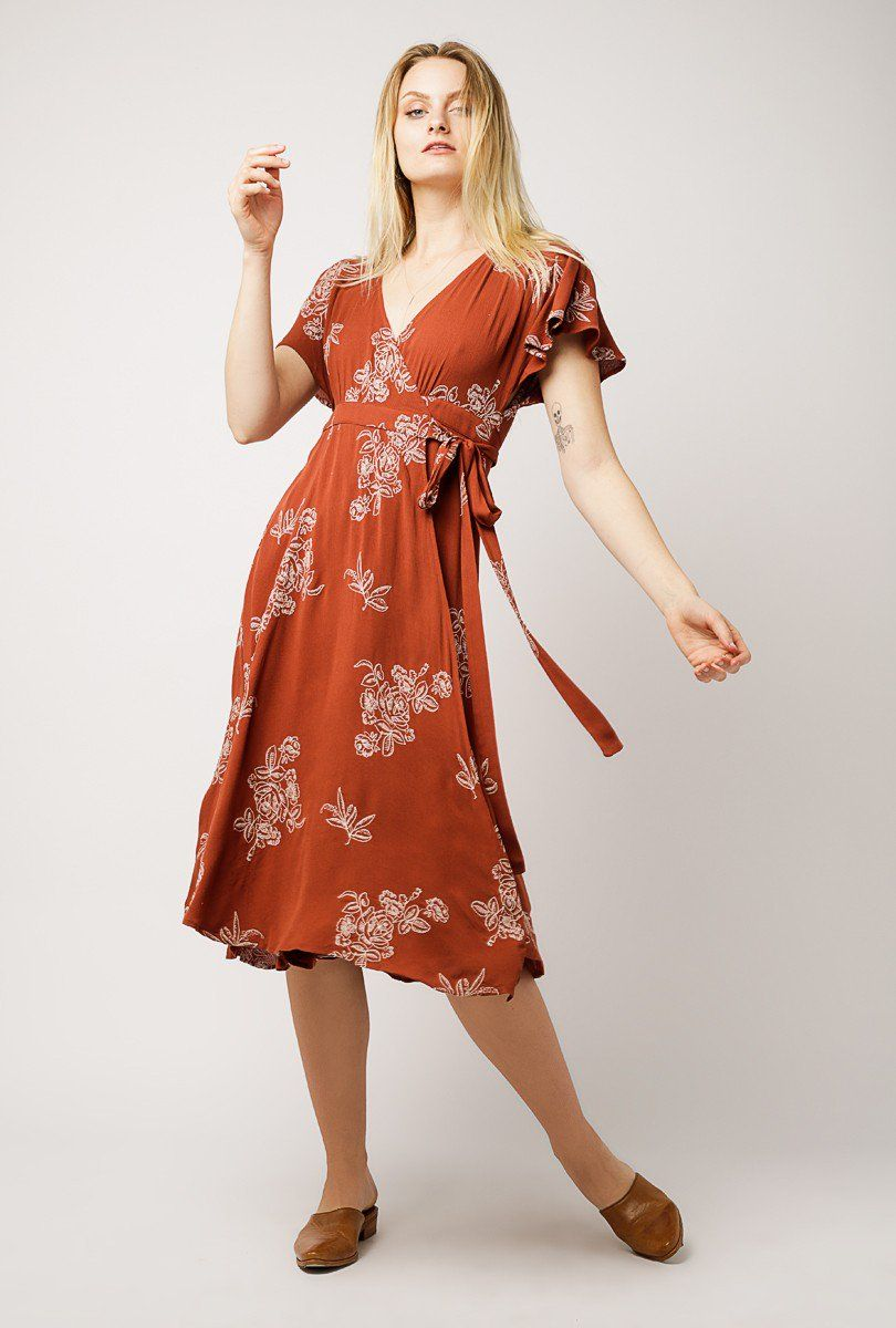 midi wrap dress short sleeve