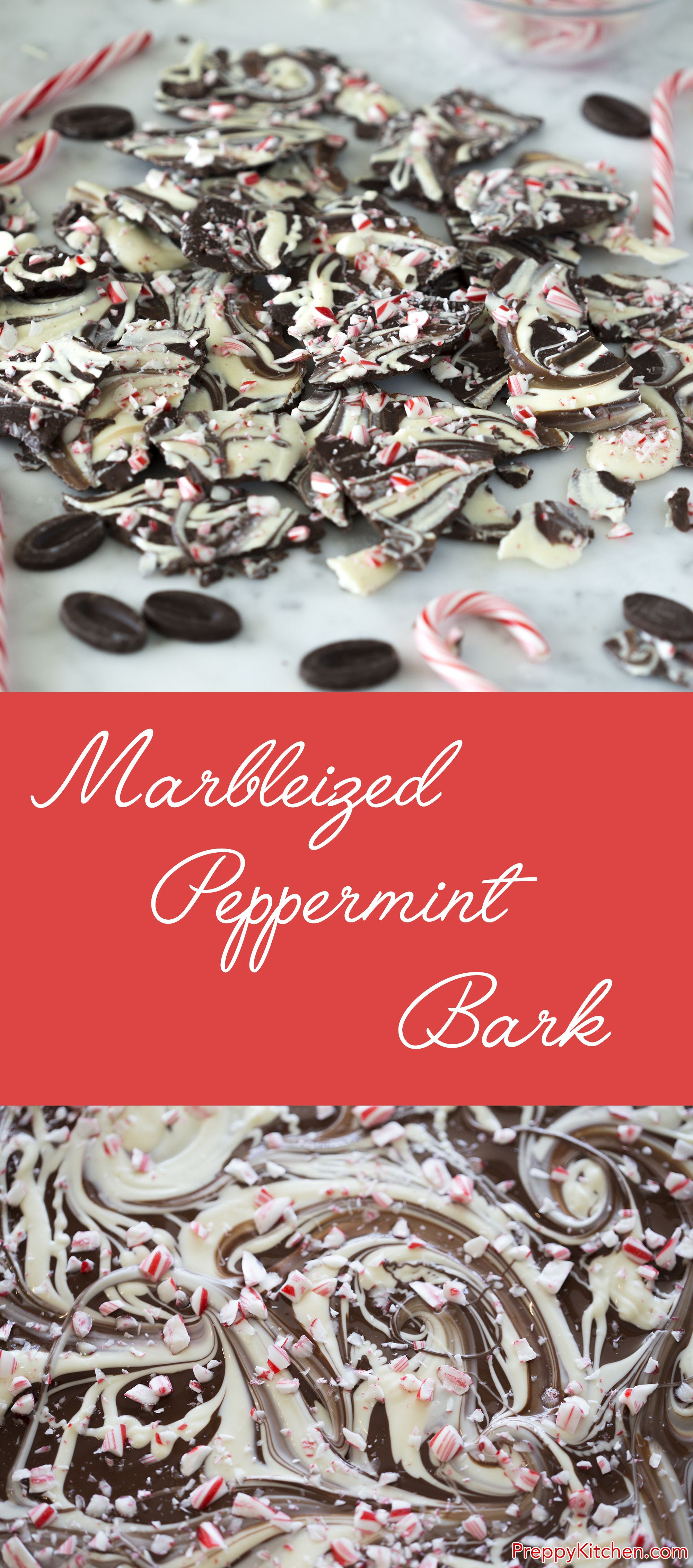 Dark Chocolate, White Chocolate, Peppermint And Crushed Candy Canes A