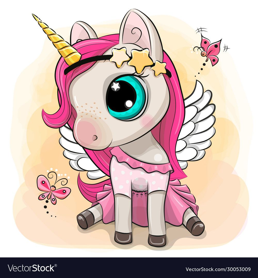 Cute Cartoon Unicorn Girl With Butterflies On A Yellow Background Download A Free Preview Or High Quality Cartoon Unicorn Unicorn Illustration Unicorn Drawing