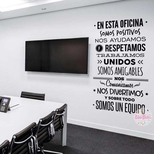 Vinilo decorativo pared reglas de oficina textos palabras for Vinilos decorativos para oficinas