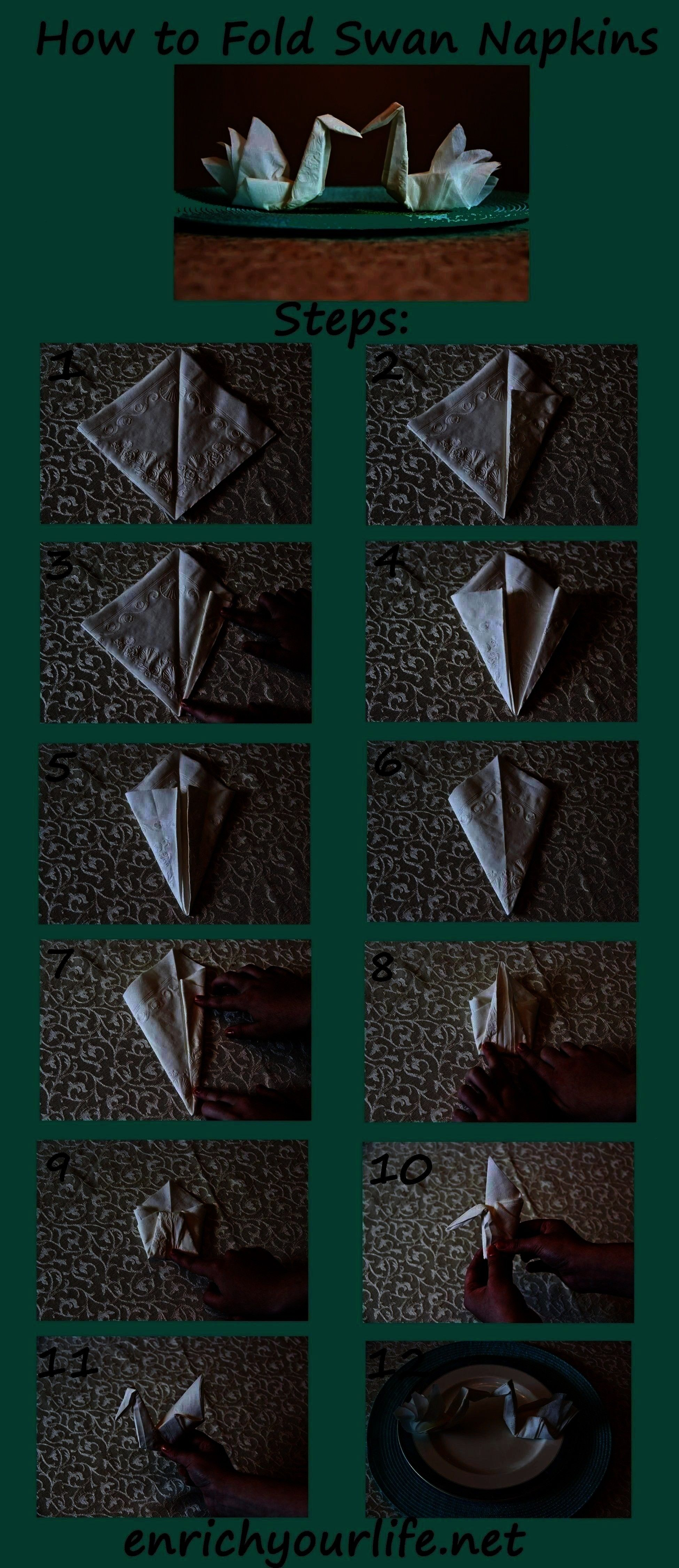 by Step enrichyourlife01 How to Fold a Swan Napkin Step by Step enrichyourlife01 Diy AbschnittHow to Fold a Swan Napkin Step by Step enrichyourlife01 Diy Abschnittto Fold...