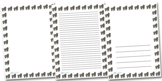 Gorilla Portrait Page Borders Portrait Page Borders Page border – Writing Paper Template with Borders