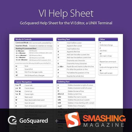 Vi Cheat Sheet Linux Terminal Cheat Sheet Pdf Smashing Magazine Linux Cheat Sheets Smashing Magazine