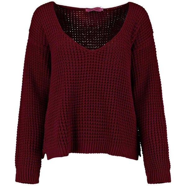 Lola V Neck Step Hem Jumper (3,89 BRL) ❤ liked on Polyvore featuring tops, sweaters, shirts, tops - sweaters, shirt top, v neck jumper, red v neck top, red top and v-neck sweater