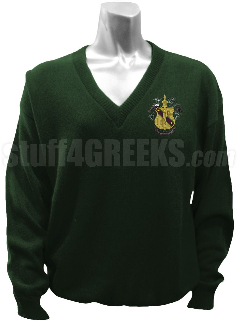 Forest green Chi Alpha Delta v-neck sweater with the crest on the left breast.