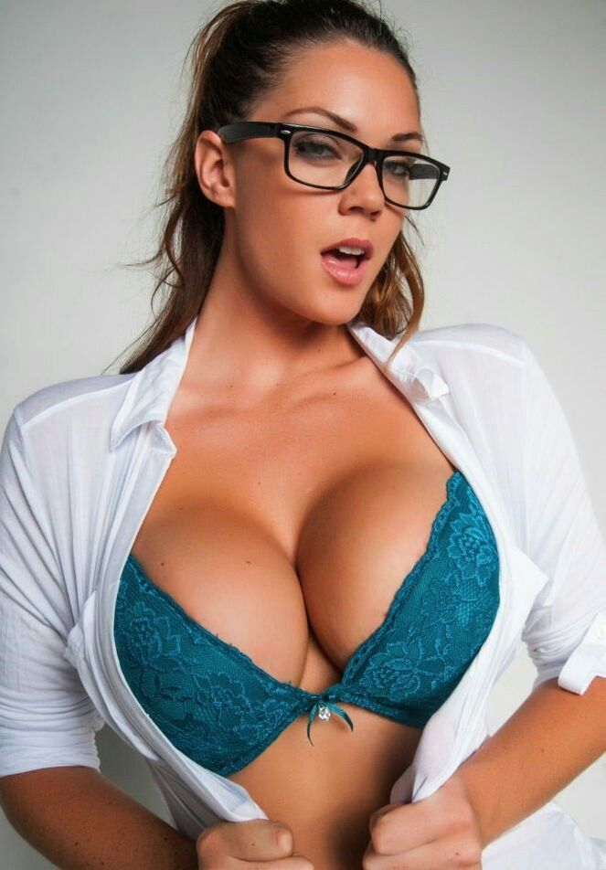 Big busty office girls glasses