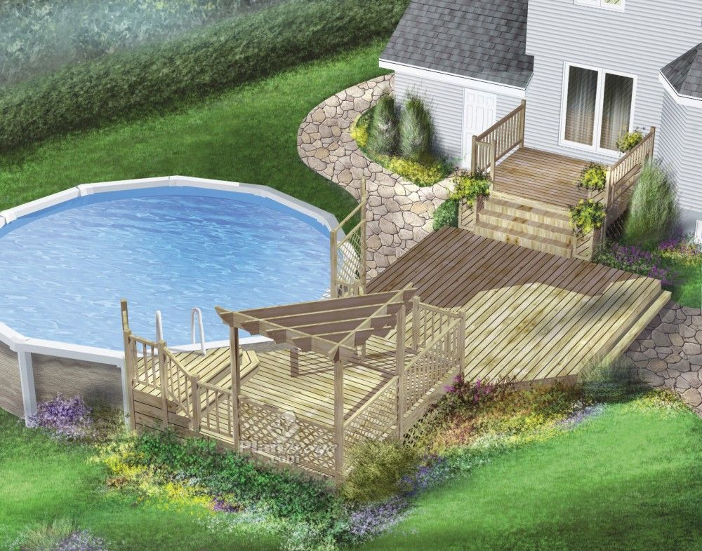 Patio avec piscine hors-terre Deck-adent Pinterest Decking