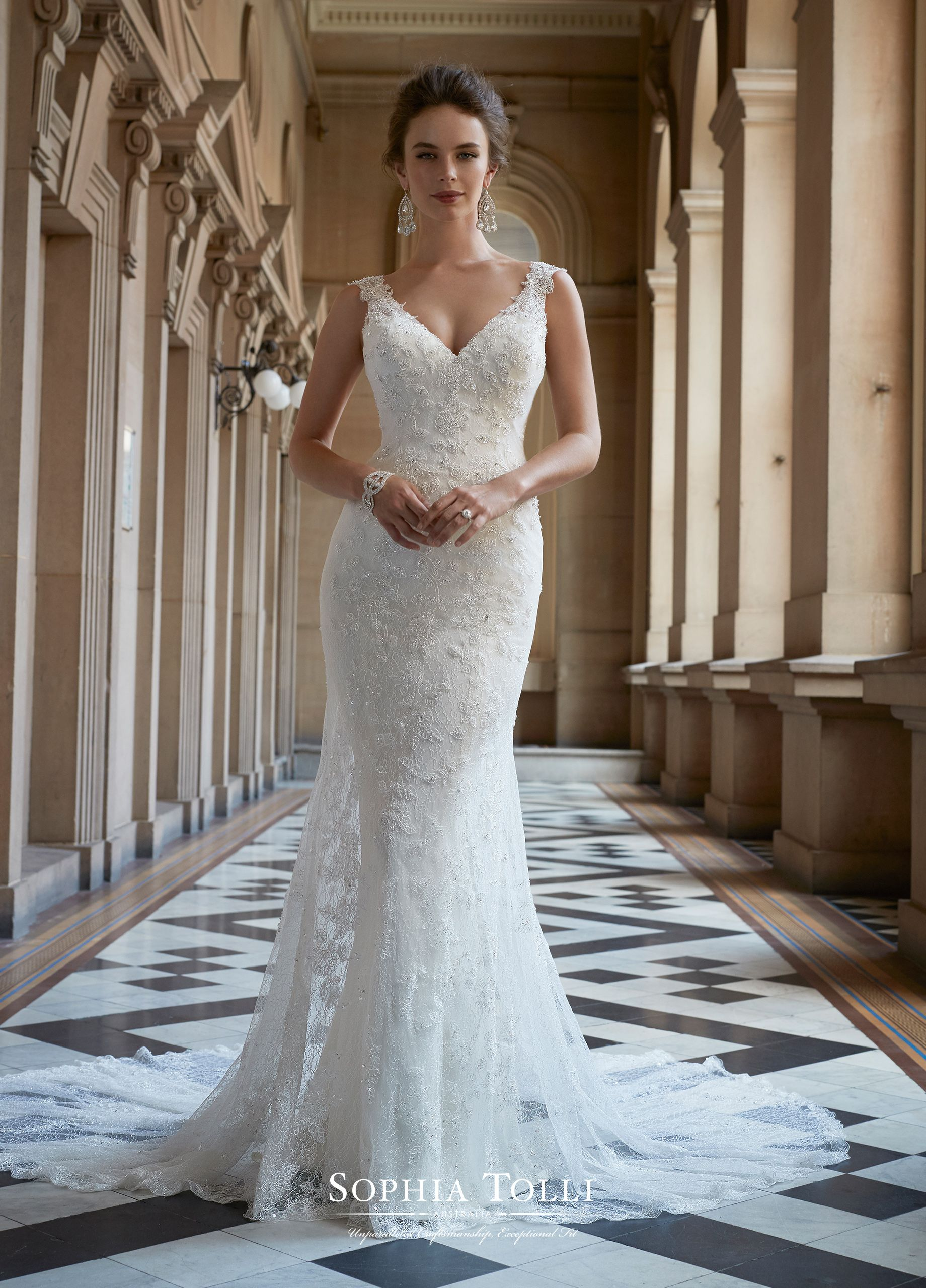 1be889739 Y21762 Zaniah - Sleeveless soft tulle and allover soft lace with beaded lace  appliqué slim fit and flare gown with embellished illusion straps and ...