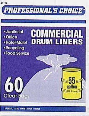 Quantity 4 Berry Plastics 96130-4 60-Count 55-Gallon Clear Institutional Drum Liners