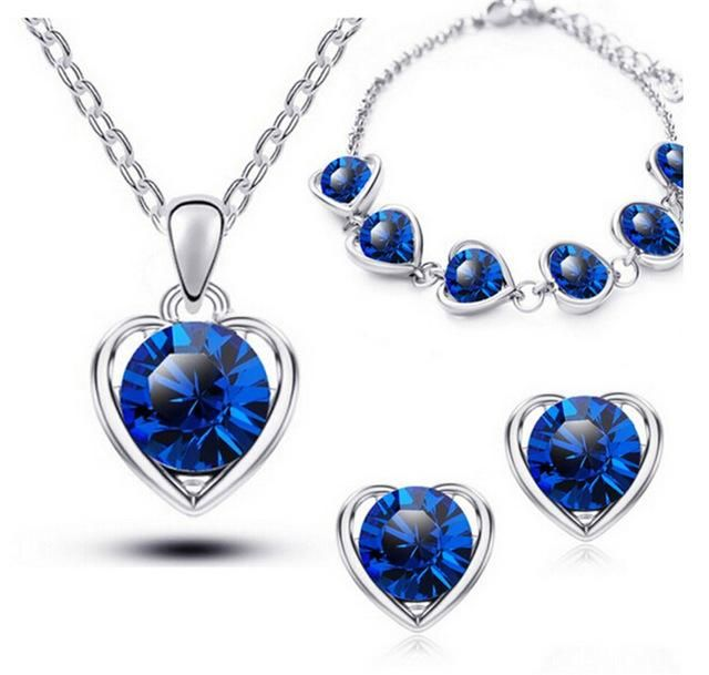 Gold Color Crystal Heart Costume Jewelry Sets Women Necklace