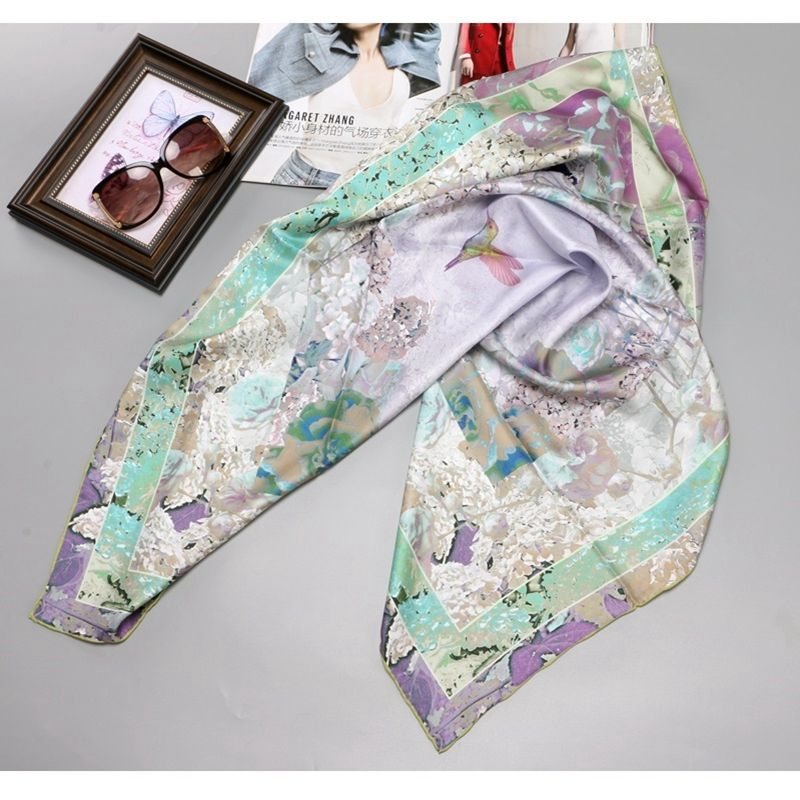 Flowers & Birds Print Large Square 100% Silk Scarf Shawl Hijab 90*90cm Women Head Scarves for Hair Wrapping