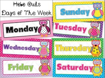 Calendar Days Of The Week Owl Polka Dot Hobo Stitched Color, $3