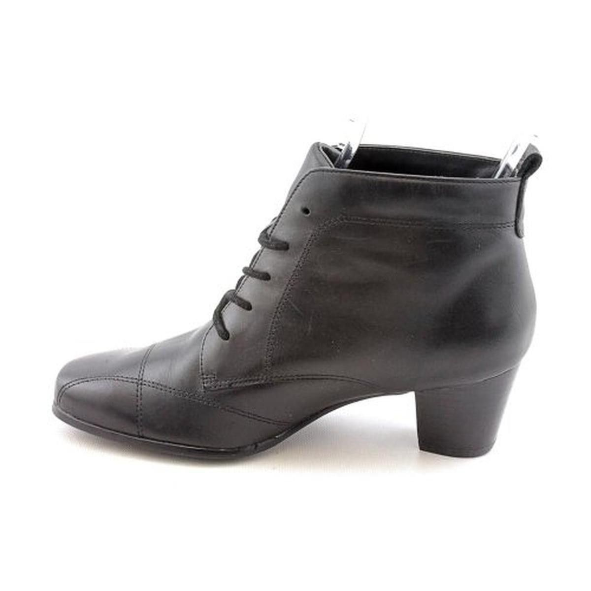 David Tate Womens Modern Leather Lace-Up Ankle Boots