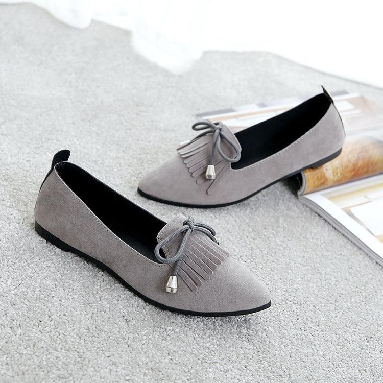 9520cb5cbc3 Bowknot Tassel Pointed Toe Flat Slip On Shoes For Women