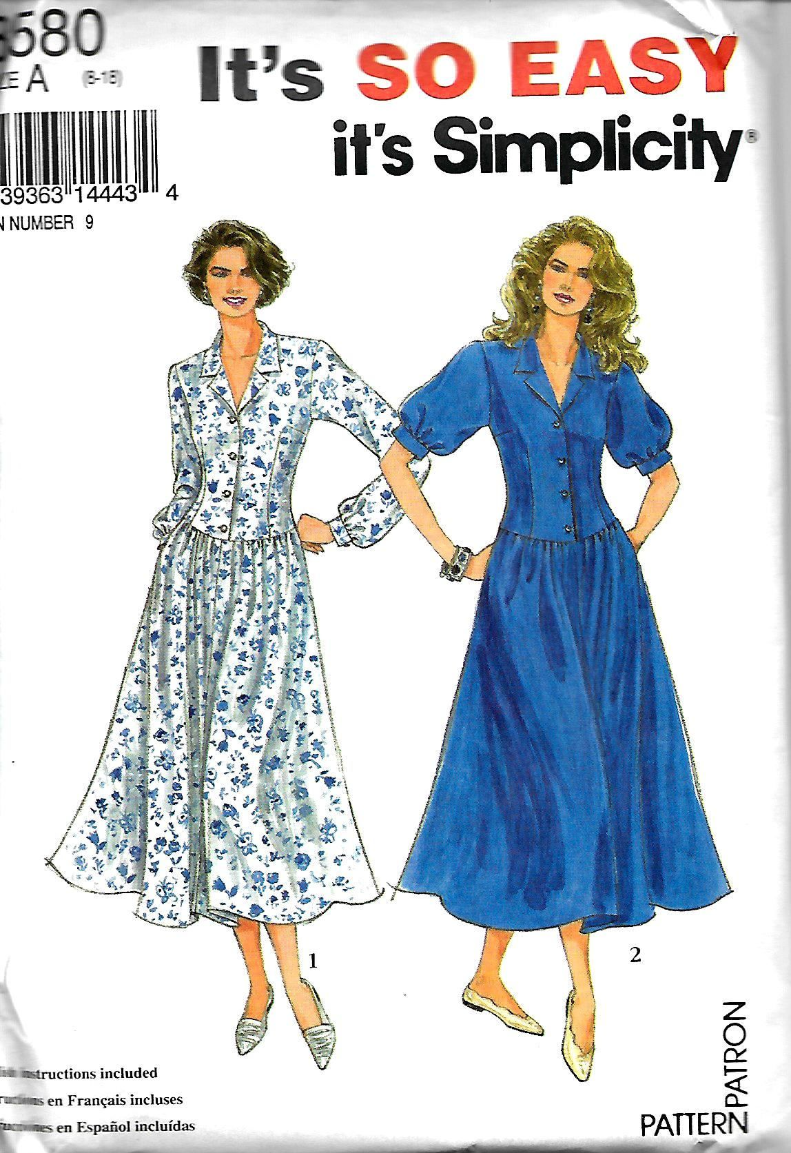 Simplicity 8580 Misses/ Miss Petite Easy Dress pattern, Sleeve ...