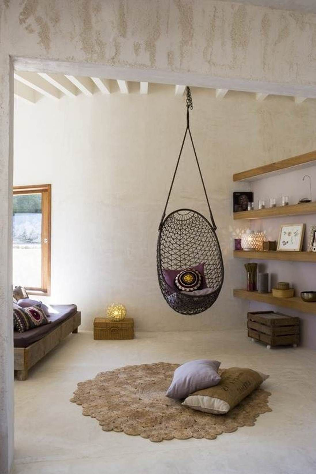 Captivating grid rattan bedroom hanging chair design. #HangingChairs  #Netnoot #Furniture www.