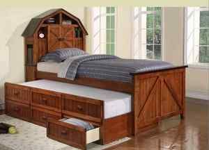 Kids Children Full Captain Bed Oak Black With Twin Trundle
