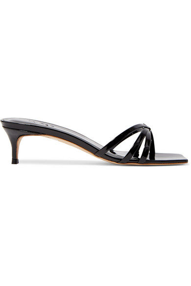 a71185ae726 ... square toes and kitten heels - BY FAR s  Libra  mules tick off so many  of our favorite footwear trends. Made from glossy black patent-leather