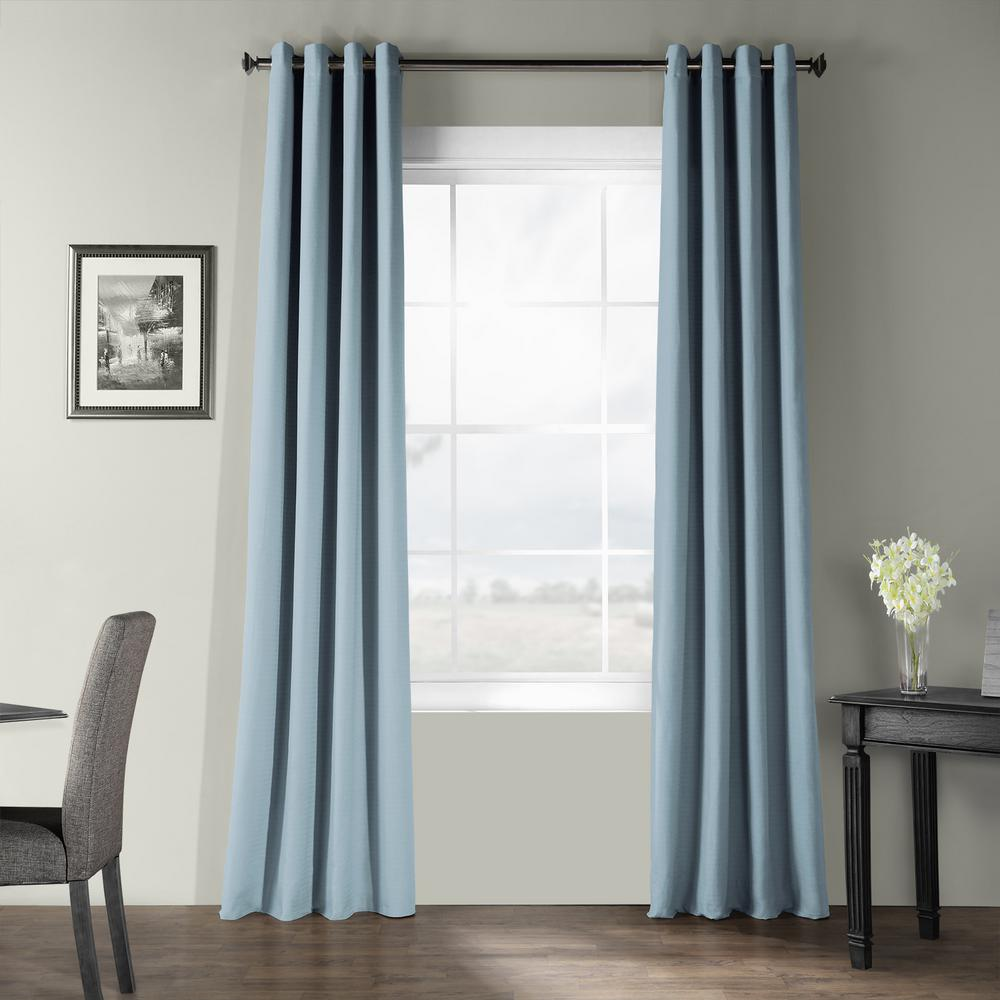 Exclusive Fabrics Furnishings Dusky Blue Bark Weave Solid Cotton Grommet Curtain 50 In W X 120 In L Bwlk 1856 120 Gr The Home Depot Colorful Curtains Curtain Single Panel Curtains