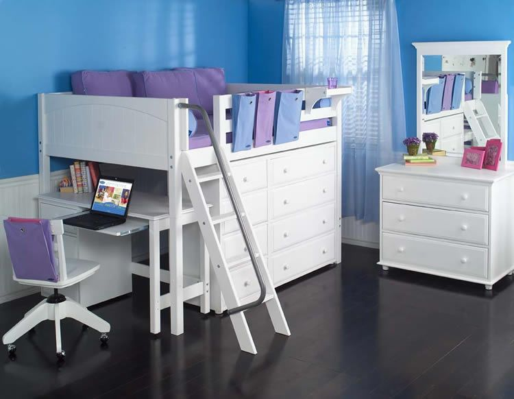 Full Size Study Loft Bed By Maxtrix Kids White 638 With