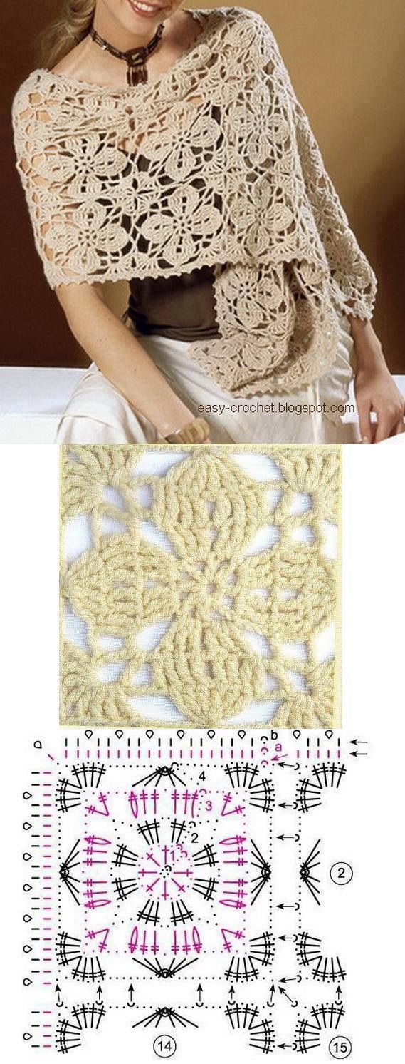 Lace flower crochet shawl pattern | Tejido crochet | Pinterest ...