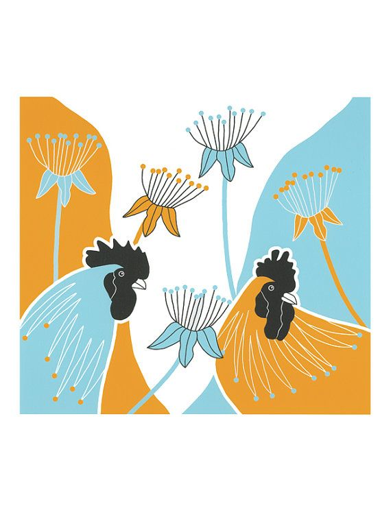 10 x 8 Art Illustration Print Birds Blue Yellow Cockerels Roosters Stylised Seedheads Nature Graphic Art