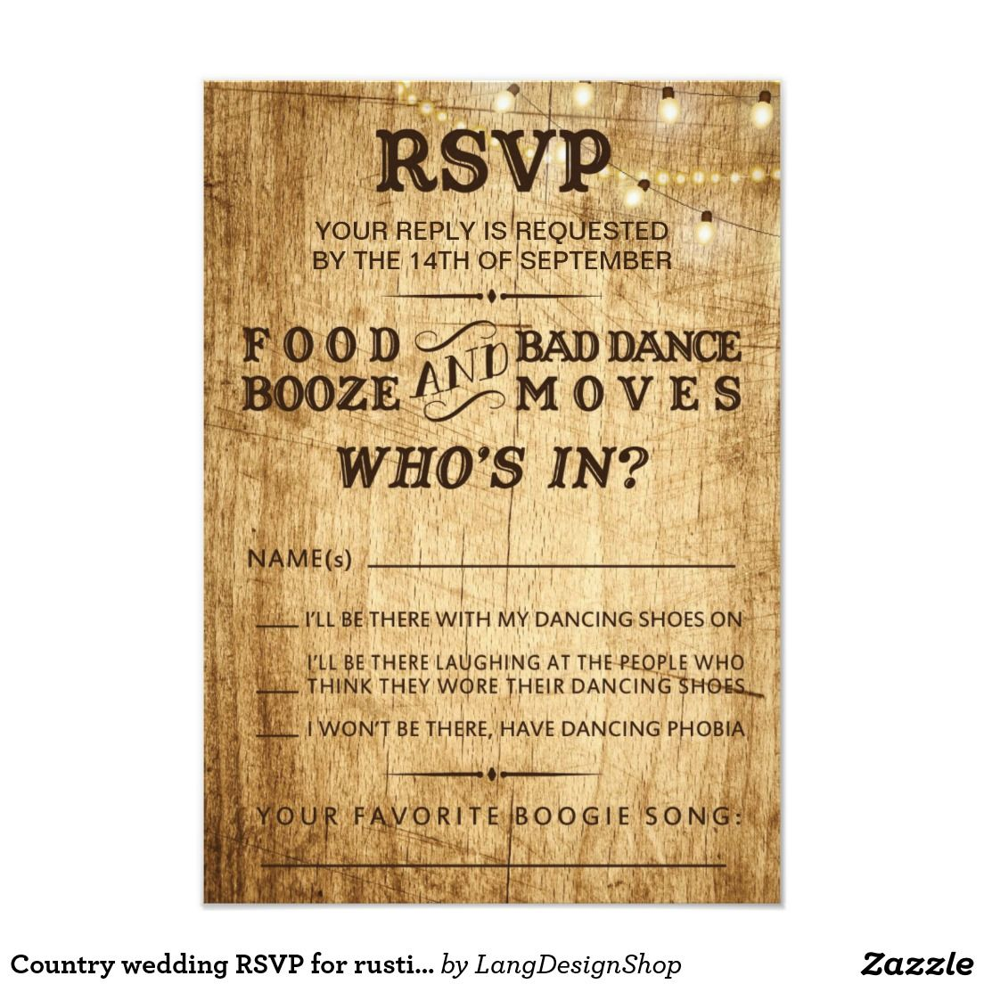 Country Wedding Rsvp For Rustic Wedding With String Lights On A Wood