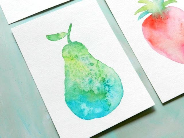 How To Paint Watercolor Fruit Textured Pear Comment Peindre
