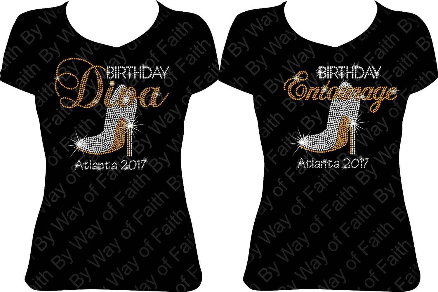 8417ae3c Group Buy! -> Birthday Diva & Entourage with Heel and Destination! <- Bling  Rhinestone Shirt! BWF designs are crafted with exceptional machine cut  stones ...