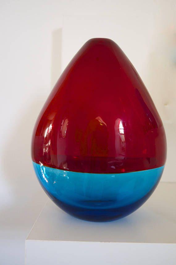 Luciano Gaspari Incalmo For Salviati Blue And Red Vasesculpture