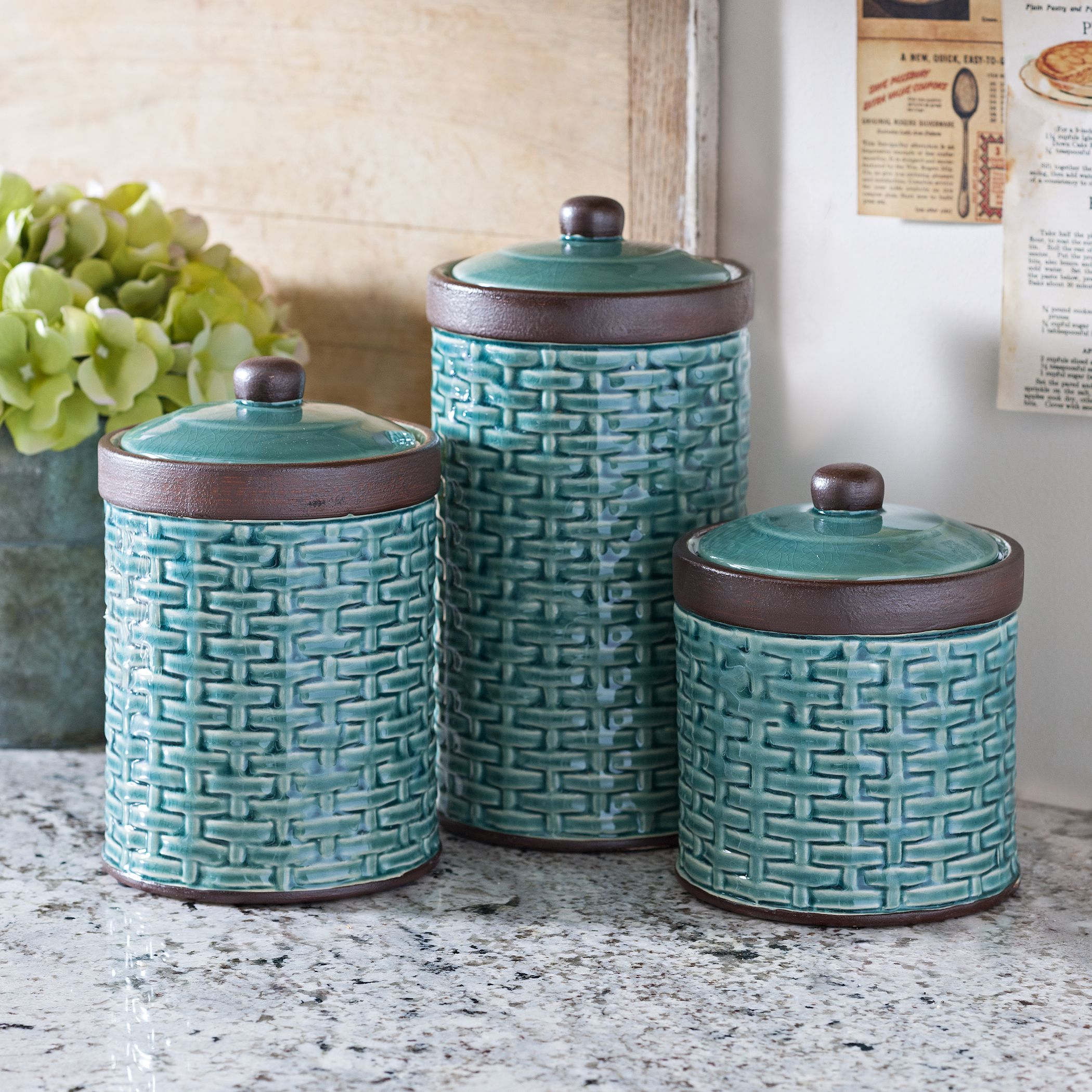 Blue Woven Kitchen Canisters, Set of 3 | Creative Kitchens ...