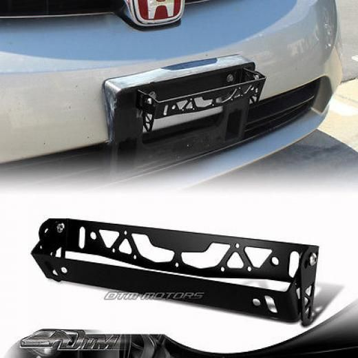 Pack 2 JDM Black Carbon Look License Plate Frame Cover Front /& Rear Universal