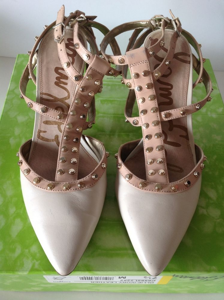 SAM EDELMAN Ivory OLLIE Leather Stud Strappy Heels Size 7.5M #SamEdelman #Strappy #Party